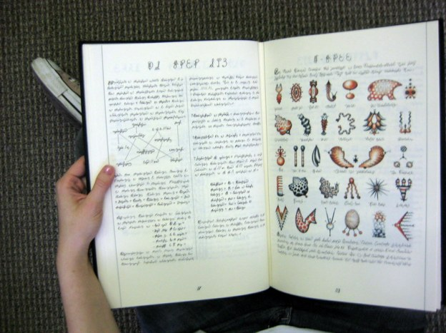 A picture of the Codex in my lap on the library floor